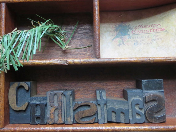 Christmas antique printer's blocks Creative Christmas Ideas  Vintage Inspiration Party  KnickofTime.net