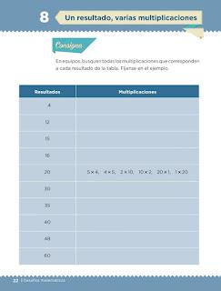 Apoyo Primaria Desafíos matemáticos 3er grado Bloque 1 lección 8 Un resultado, varias multiplicaciones