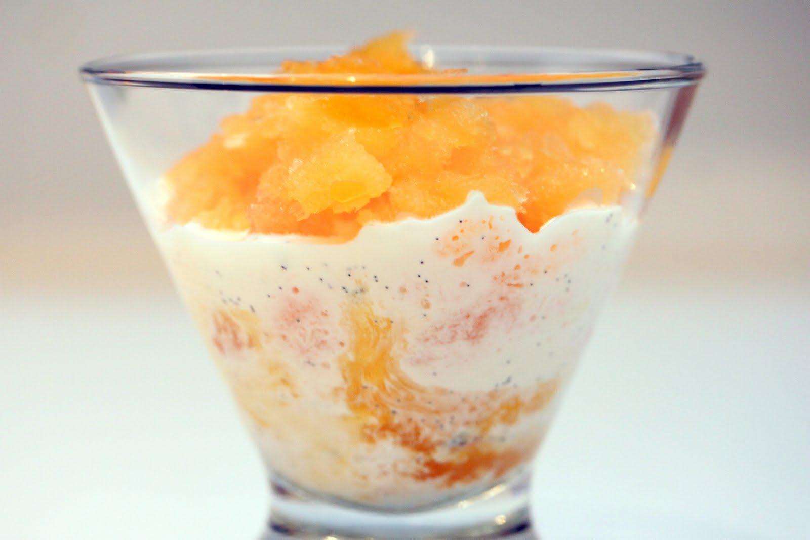 gingersnaps: tangerine granita with vanilla bean cream