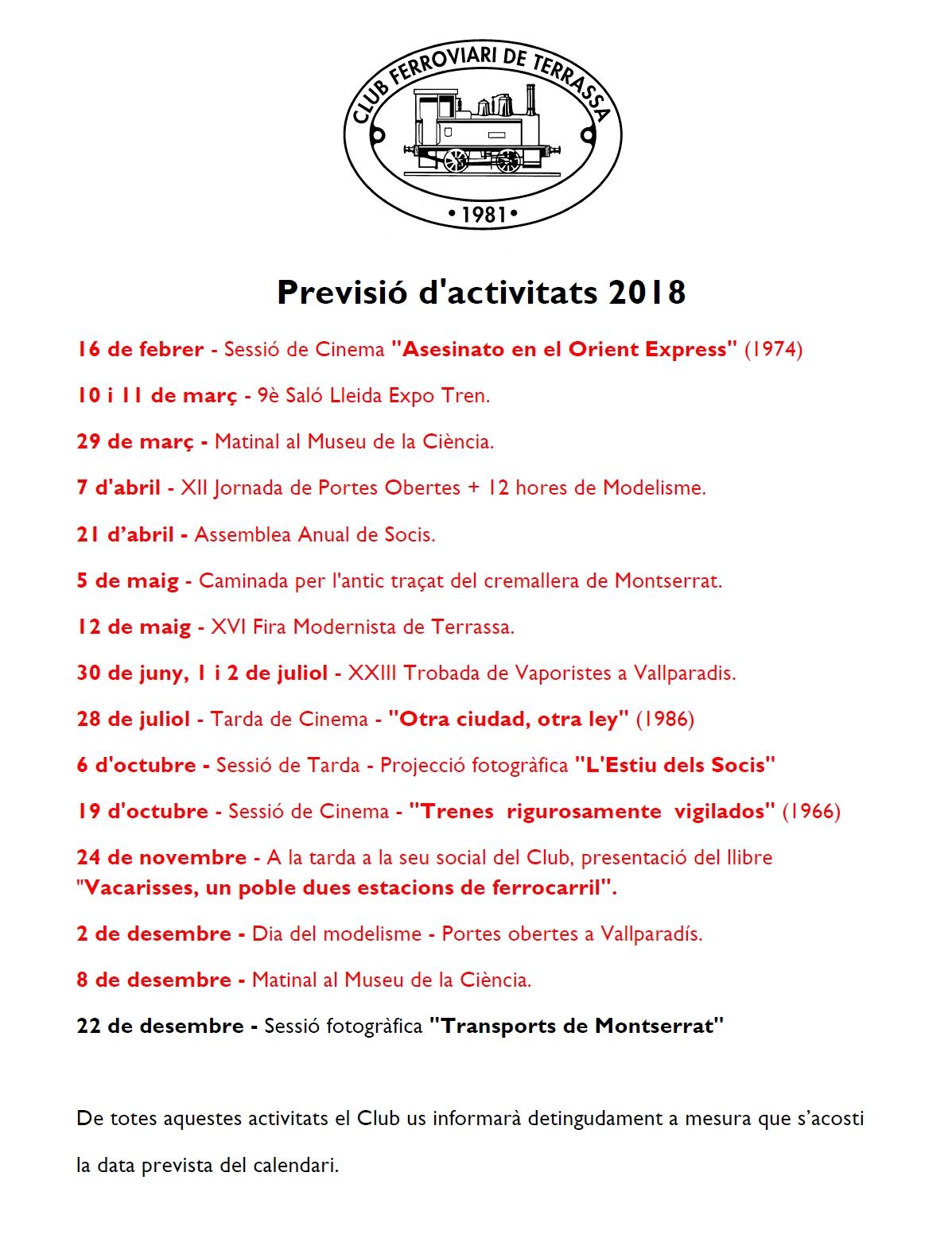 Darrera actualització de l'any de la Previsió d'Activitats  11-DES-2018