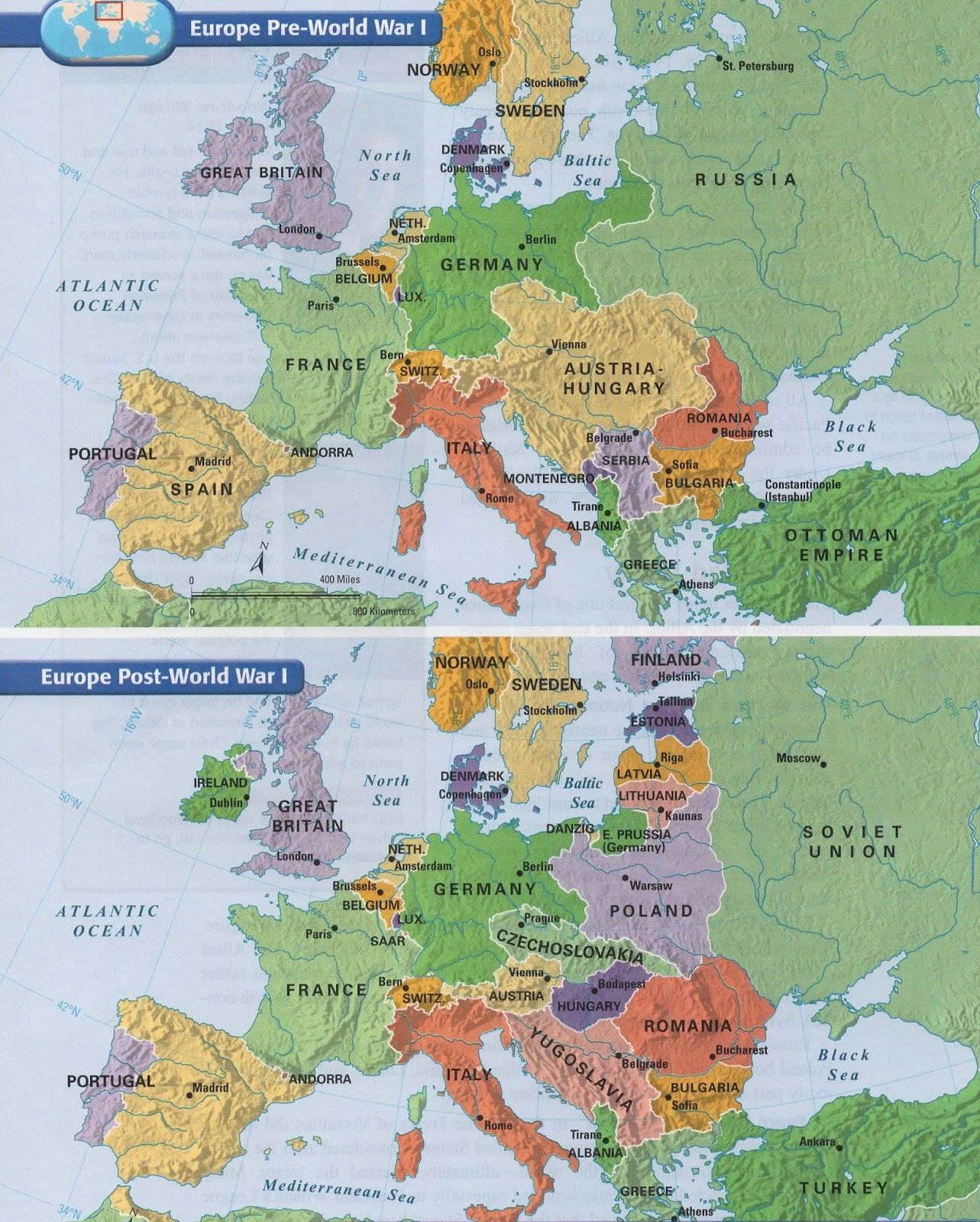 Source # 4  Maps Of Europe Before World War One And After World War One