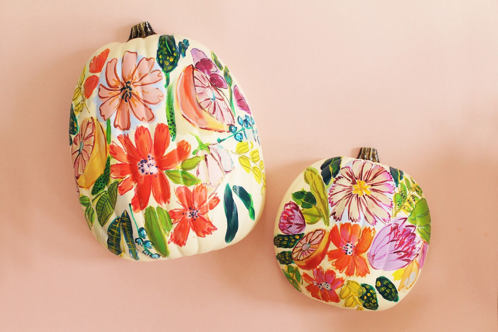 Floral fall pumpkin lindsey crafter Flower painted pumpkins