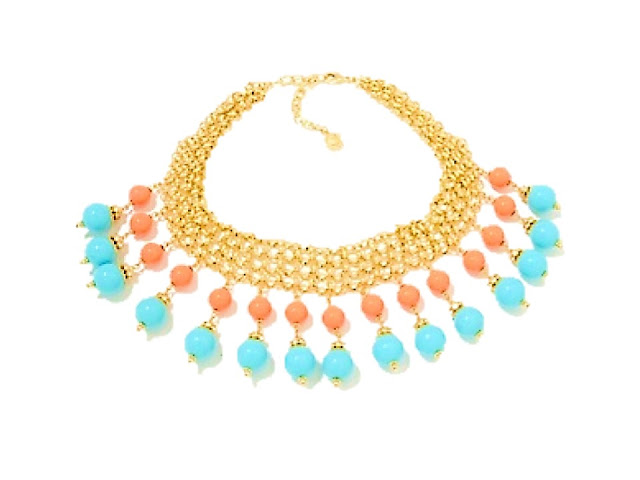 R.J. Graziano turquoise and coral necklace