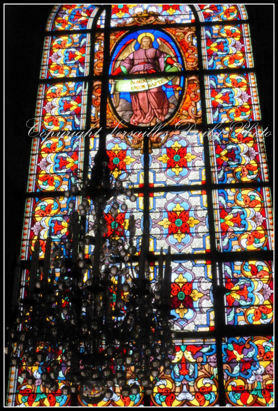 Stained glass chandelier Versailles cathedral