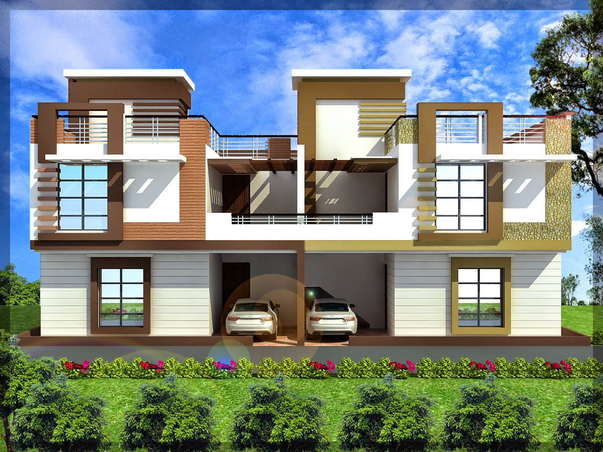Ghar planner leading house plan and house design for Modern triplex house designs