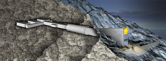Схема Свальбардского Хранилище Судного дня с запасами семян