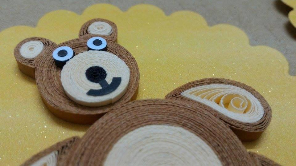 Azlina abdul big brown quilling teddy bears for Big quilling designs