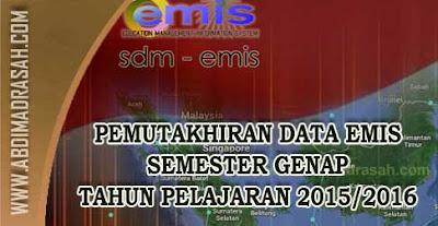 Format Pemutakhiran Data Emis Semester Genap Tahun Pelajaran 2015/2016 Untuk RA dan Madrasah