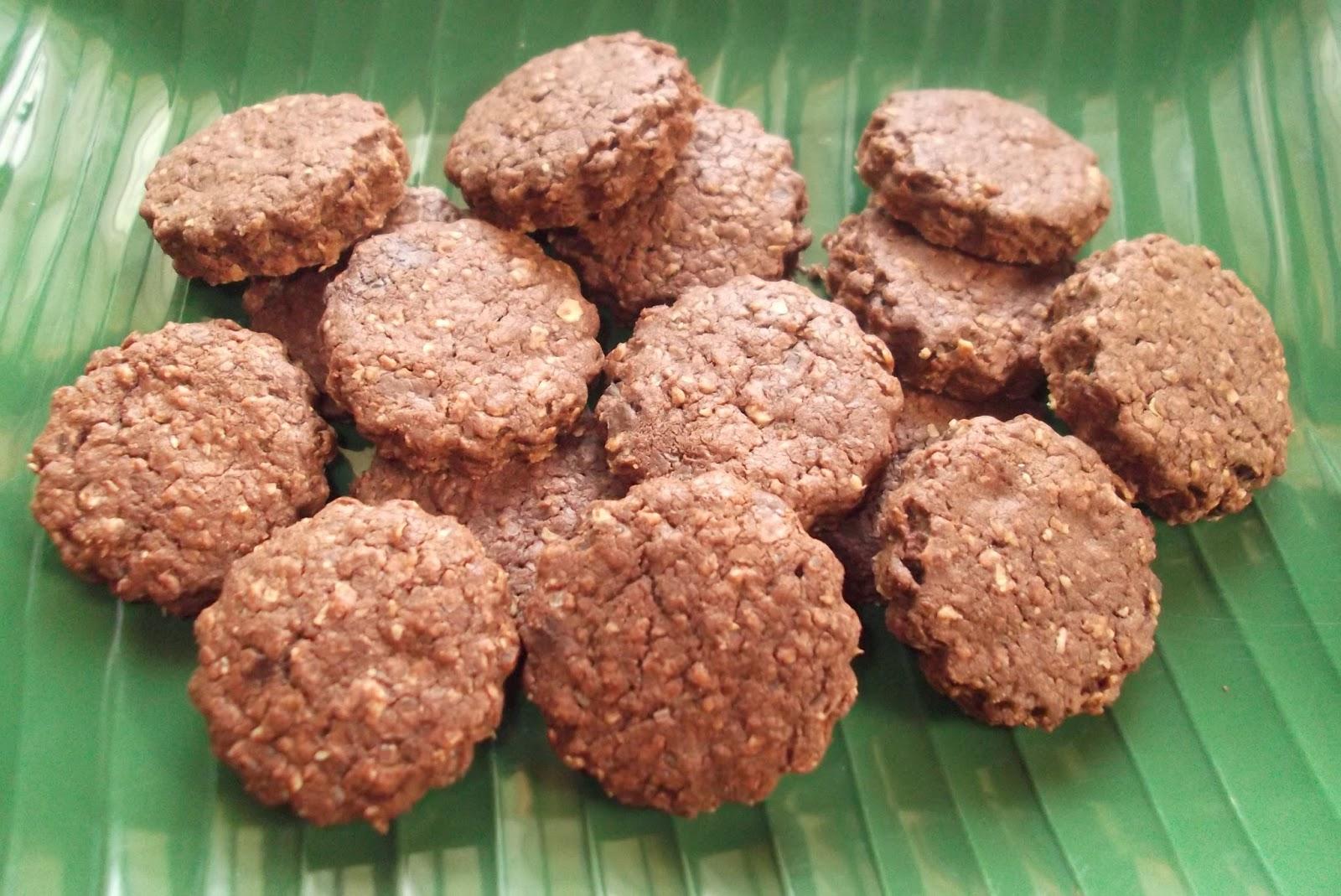 Biskut Coklat dengan Oat @ Chocolate Oat Cookies