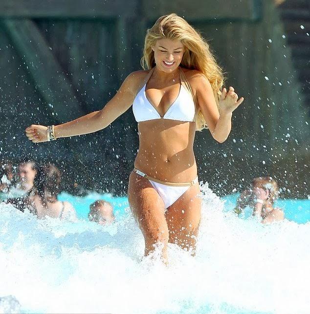 English:Amy Willerton White Bikini Mexico January 29, 2014