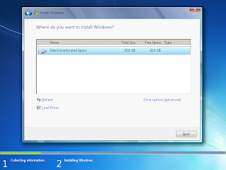 now start installing Windows 7. The first step, (i.e. Copying Windows ...