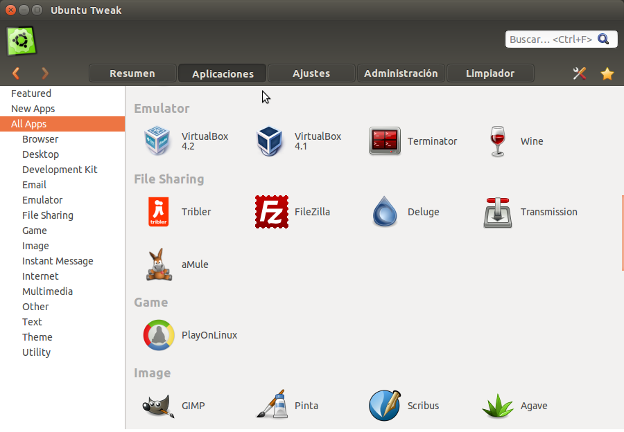 Ubuntu Tweak Aplicaciones