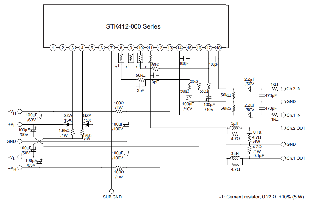 Ibrido stk407-090 amplificatore