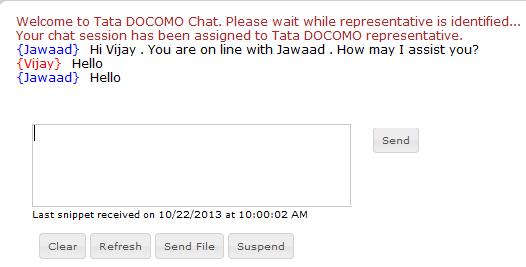 TATA DOCOMO Customer Care Chat Support