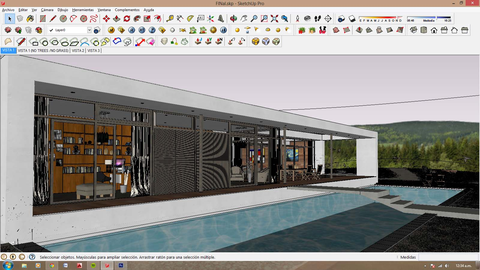 Sketchup texture free sketchup 3d model house with pool for Pool design sketchup