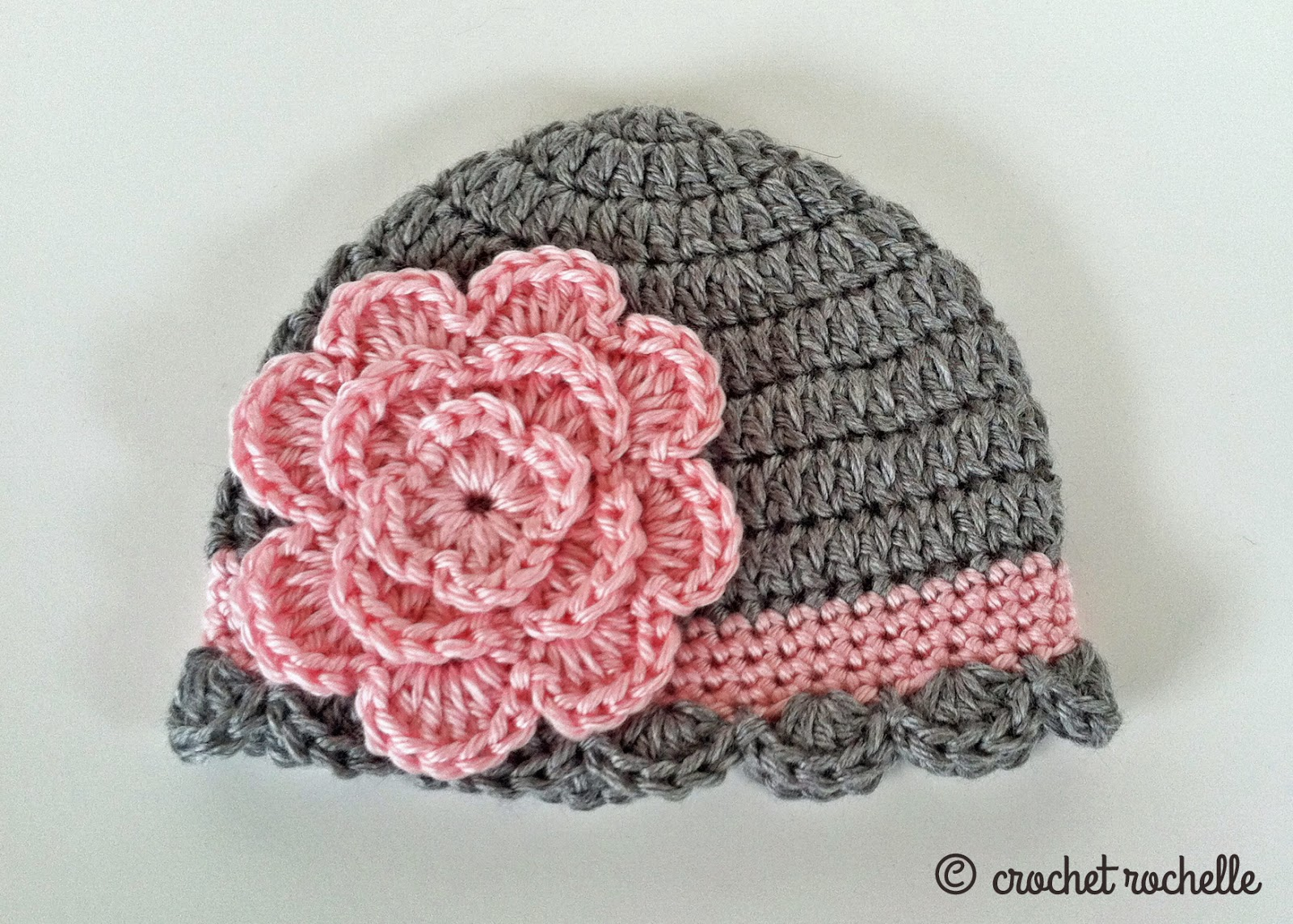 Crochet Beanie Hat Pattern For Babies : Crochet Rochelle: Pretty Baby Beanie
