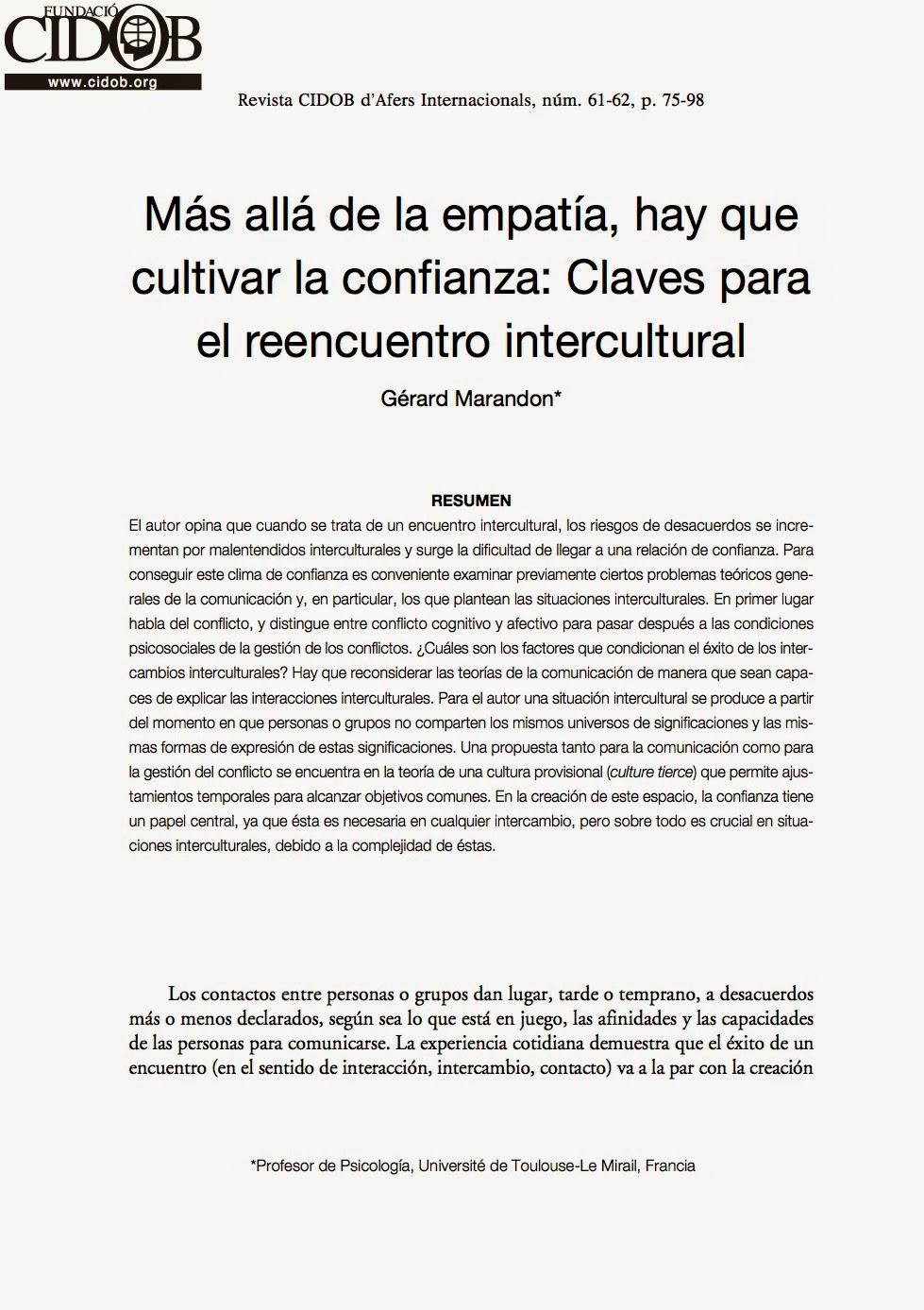 Más allá de la empatía, hay que cultivar la confianza: Claves para el reencuentro intercultural