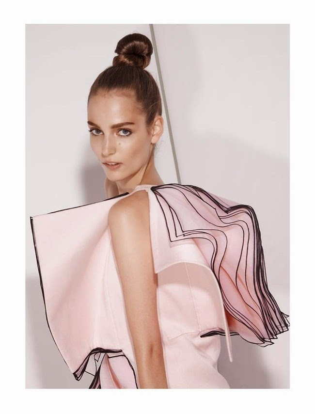 Christopher Kane 2014 AW Pink One Shoulder Layered Organza Dress Editorials