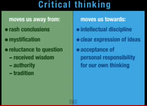 critical thinking means to you To me critical thinking means that when i read something i don't just agree what you need to remember here is that you're not being critical in the sense of.