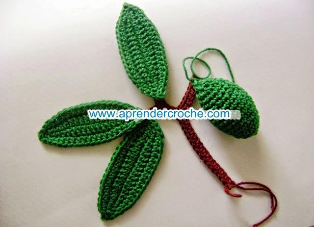 aprender croche caules folhas legumes limão  frutas dvd video-aulas edinir-croche loja curso de croche