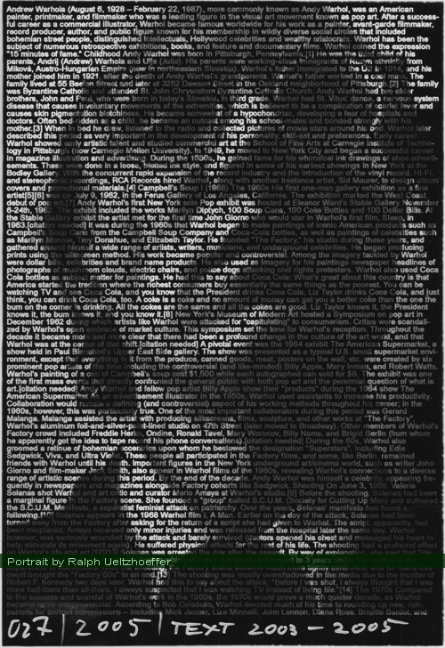 Ralph Ueltzhoeffer. Text Portrait