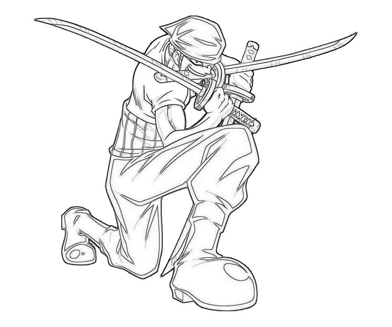 One Piece Roronoa Zoro Attack Coloring Pages