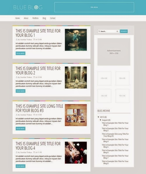 Flat Blue Magazine Template