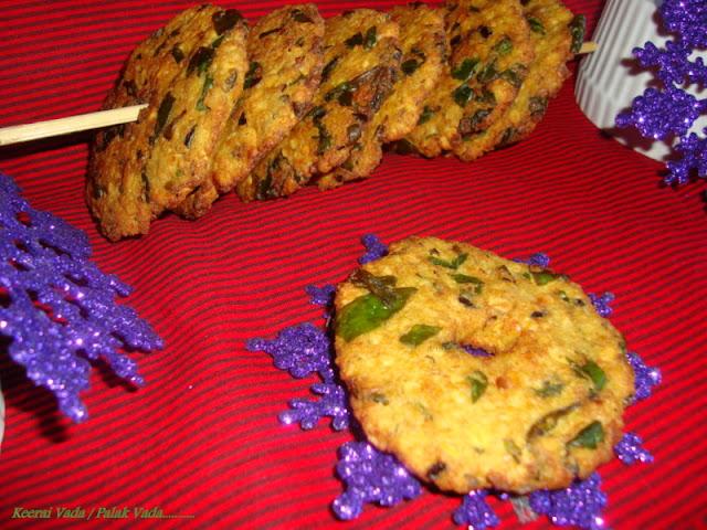Keerai Vadai recipe,Palak Vada recipe,Spinach Vada recipe