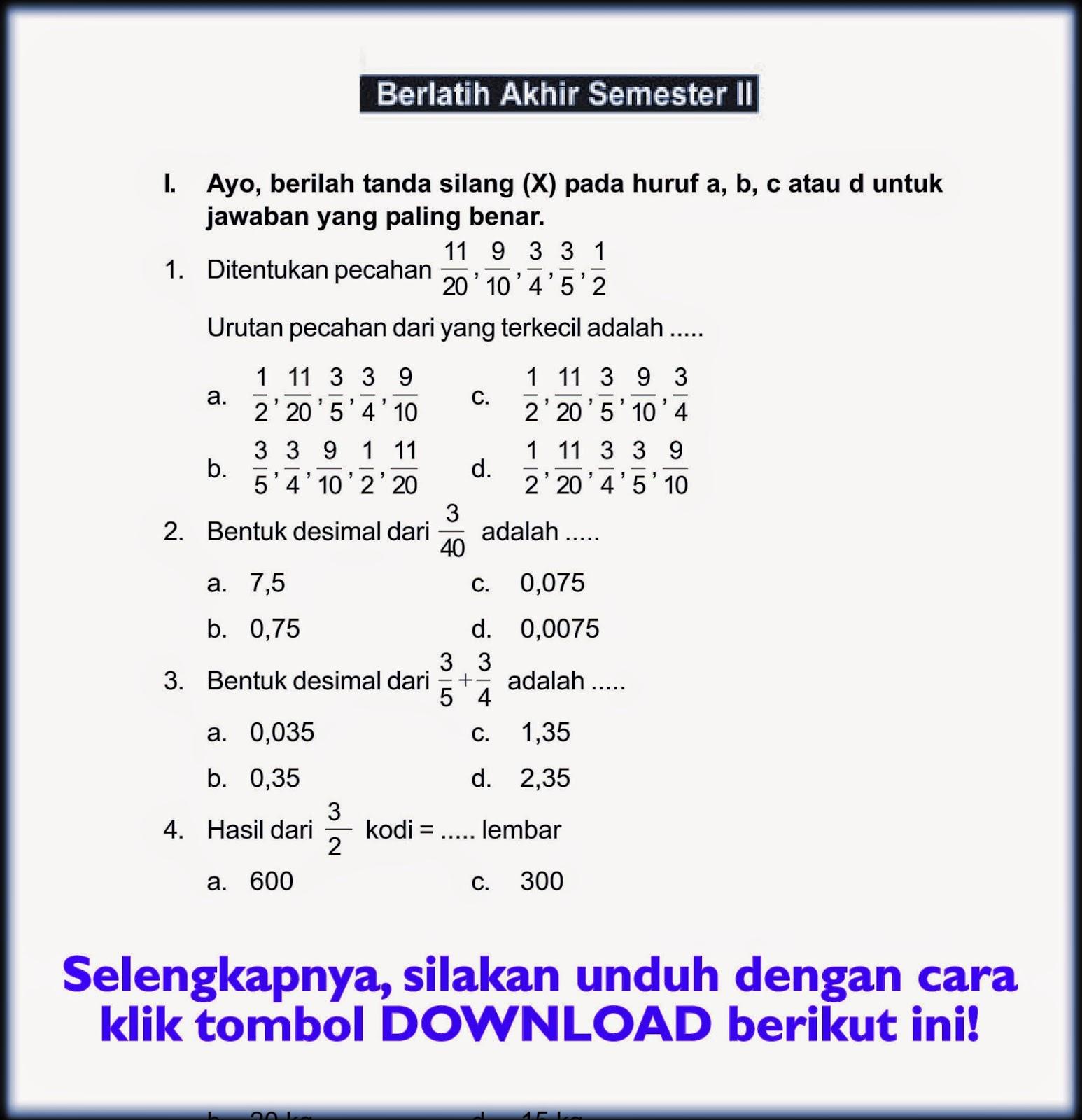 Download Soal Uas Genap Matematika Kelas 6 Semester 2 Rief Awa Blog Download Kumpulan Soal