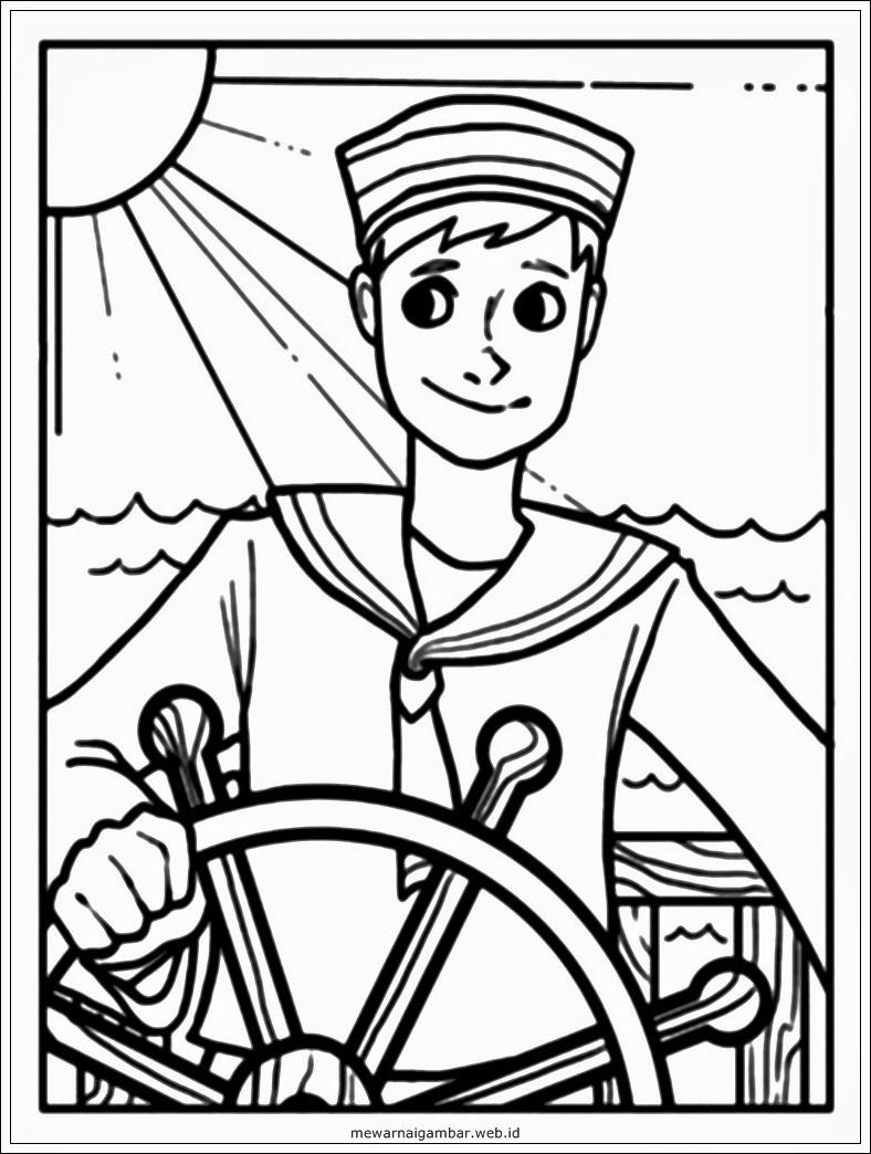 mewarnai gambar profesi pelaut