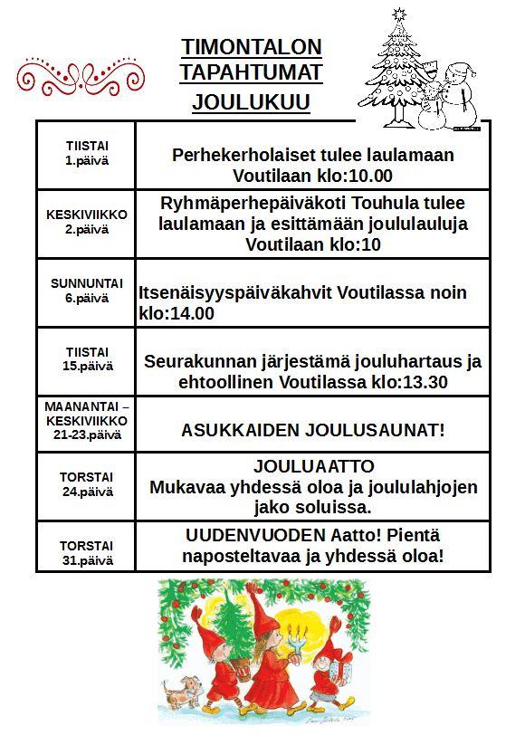 Timontalon tapahtumakalenteri