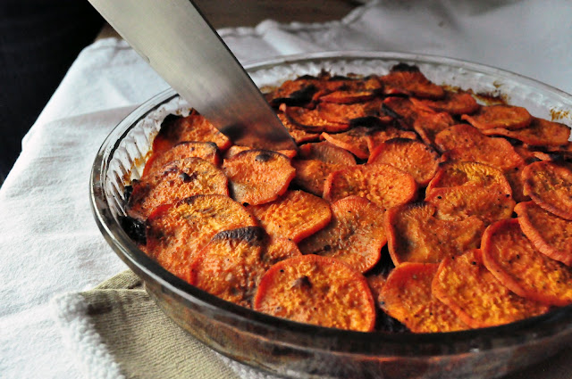 cutting into paleo sweet potatoes anna