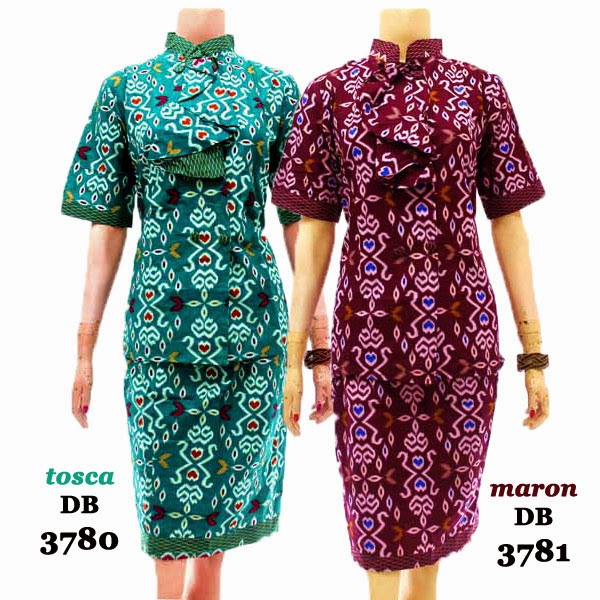 DB3780-3781  Model Baju Dress Batik Modern Terbaru 2014