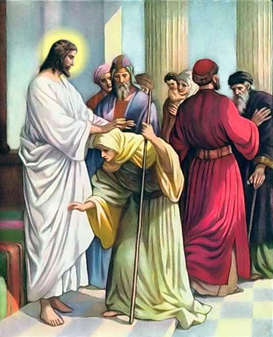Resultado de imagem para A Cura de uma Mulher Encurvada evangelho