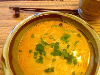 Red Curry Rice Noodle Soup, Meatless, Gluten Free, by Future Relics Pottery