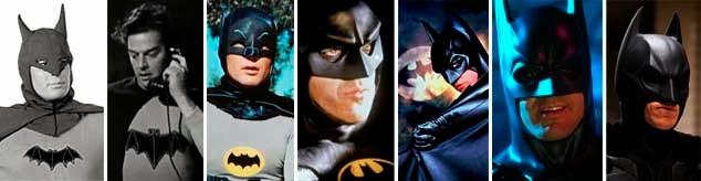 Lewis Wilson, Ben Affleck, Robert Lowery, Adam West,  Michael Keaton, Val Kilmer, Christian Bale y George Clooney