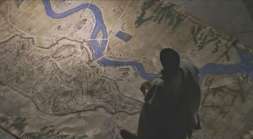 From HBO's ROME: Julius Caesar surveys a map of the city