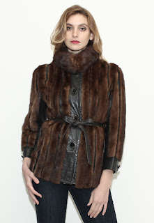 Vintage 1960's dark brown mink fur coat with black leather paneling.