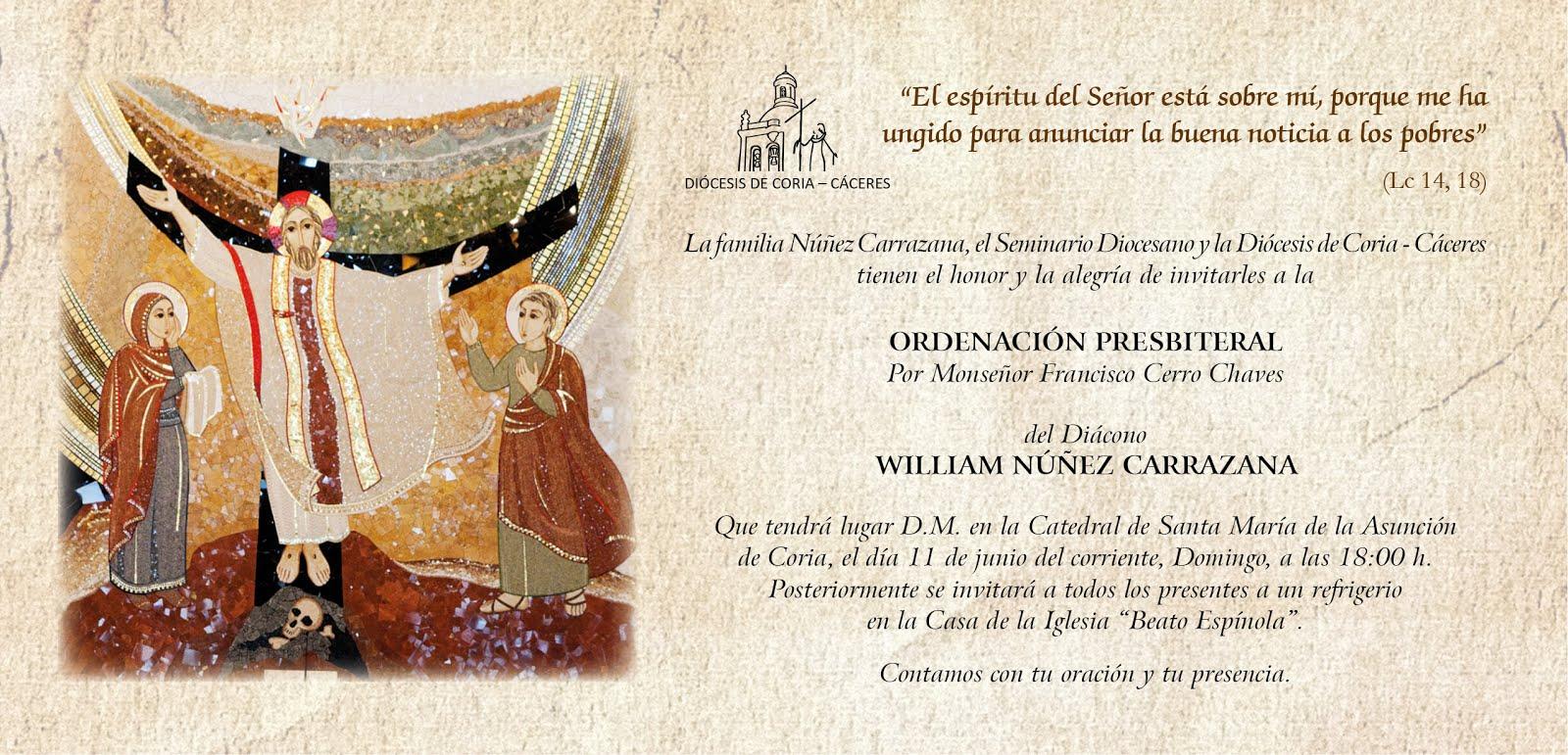 WILLIAM NÚÑEZ RECIBIRÁ EL ORDEN SACERDOTAL