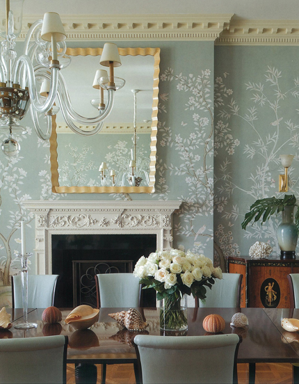 Chinoiserie chic chinoiserie 2012 seashells and chinoiserie for Duck egg blue dining room ideas