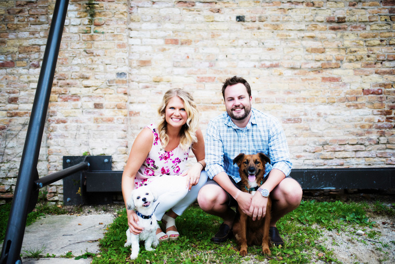 Chicago Engagement with Dogs Photo