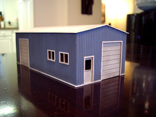 Scratch built styrene garage – front left view