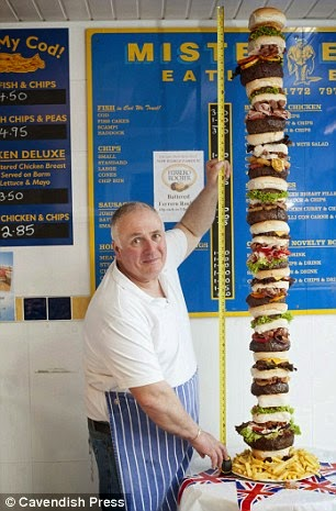 la hamburguesa más alta y con más calorías