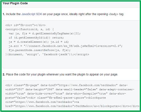Facebook fanpage code