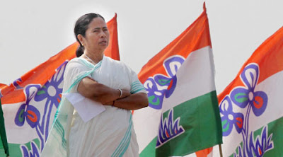 Mamata banerjee in TMC flag