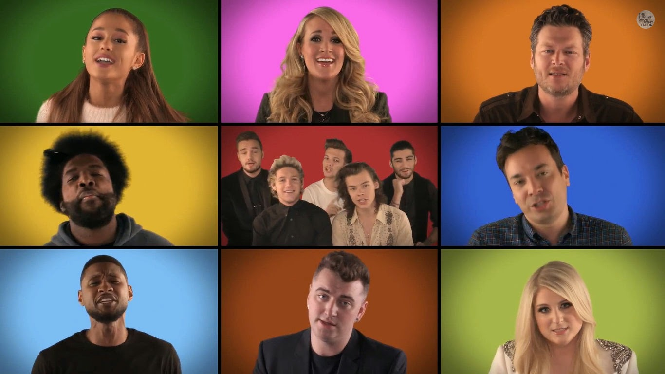 one direction, jimmy fallon, we are the champions, the roots, ariana grande, meghan trainor, sam smith, usher