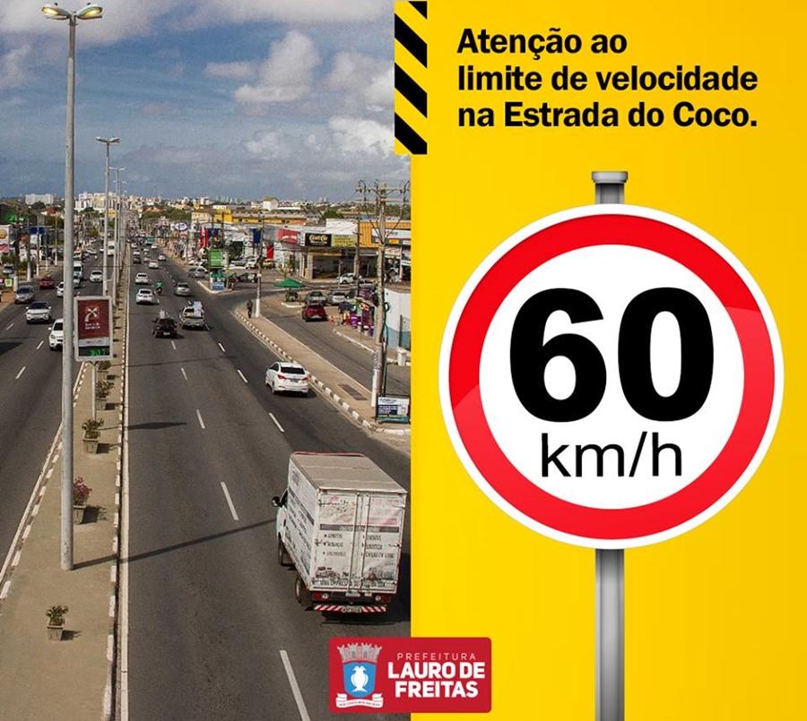 60 KM/H LIMITE DE VELOCIDADE NA ESTRADA DO COCO, TRECHO LAURO DE FREITAS