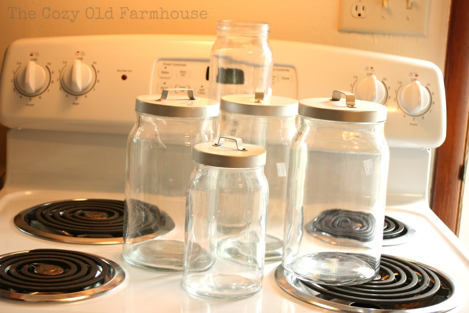 The cozy old farmhouse kitchen canisters makeover with for Fake kitchen set