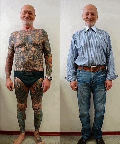 Viejo completamente tatuado