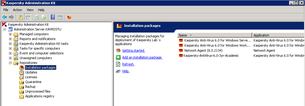 Creating kaspersky stand alone package application knowledge base